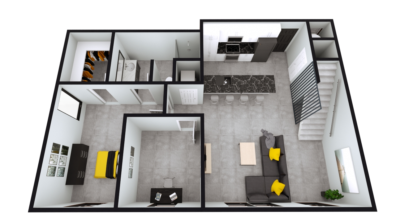 Style A3: The Nest 1BED 1BATH Penthouse