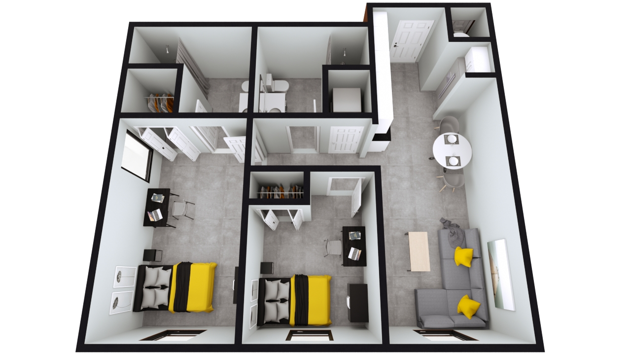 Style B3 & B4: The Nest 2BED 2BATH | 760sqft