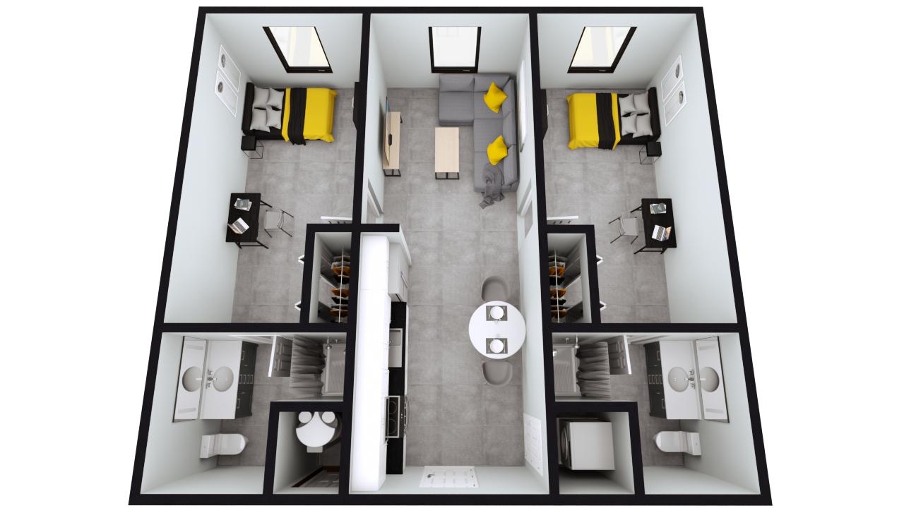 Style B5 & B6: The Nest 2BED 2BATH | 810sqft