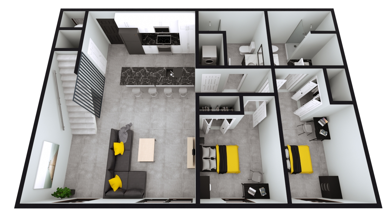 Style B7: The Nest 2BED 2BATH Penthouse