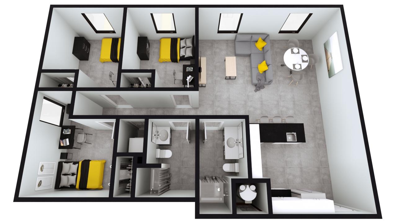 Style C1 & C2: The Nest 3BED 2BATH | 1015sqft